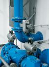 Festo pneumatic actuators and switch boxes are used to control butterfly valves on a water treatment plant sand filter