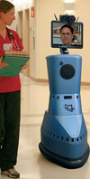 InTouch Health RP-7 remote presence robot on ward rounds